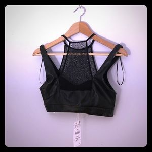 NWT Zara 2for40!! faux leather crop top small